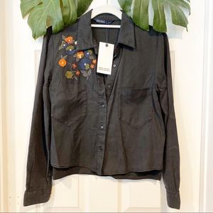 NWT Embroidered Button Down Top